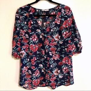 Skies are Blue Floral V Neck Blouse L